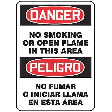 ACCUFORM SIGNS MSPS023VS Danger No Smoking Sign, 10 x 14In, Text