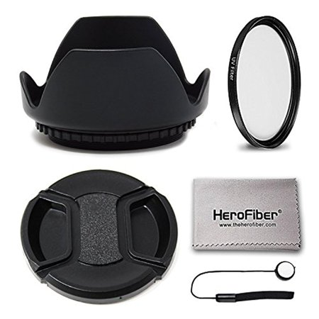 58mm Lens Hood + 58mm UV Filter + 58mm Lens Cap KIT For For Canon Cameras including CANON Rebel (T7i T6S T6i T6 T5i T5 T4i T3i T3 T2i T1i