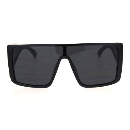 Mobster Oversize Side Visor Lens Shield Flat Top Plastic Sunglasses Black ()
