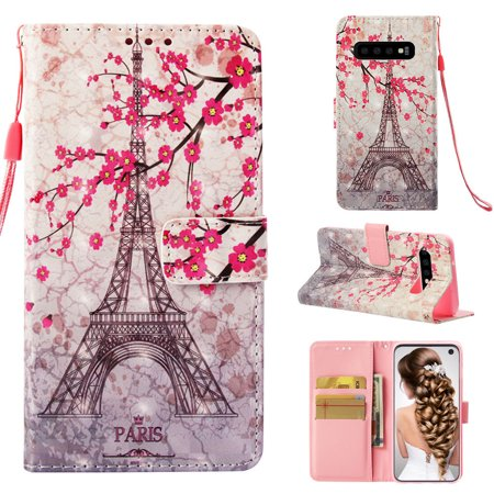Galaxy S10 Case, S10 Case, Allytech 3D PU Leather Protective Cover & Pocket Lanyard Wallet with Cards Holder, Support Kickstand Slim Case for Samsung Galaxy S10, Eiffel