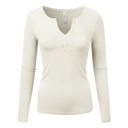 ba1b8ba03e3 Doublju - Doublju Women s Long Sleeve Henley V Neck Pleated Button Details  Tunic Shirt Top OFFWHITE 1X Plus Size - Walmart.com