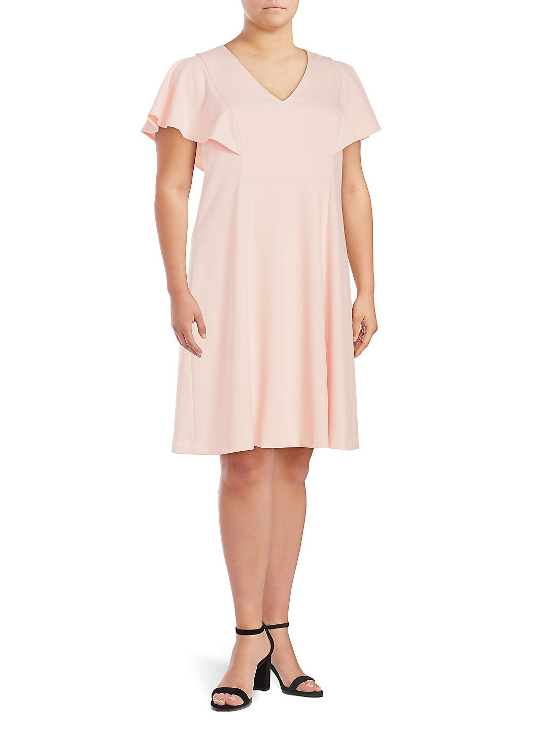 Plus Flounce-Sleeve Shift Dress
