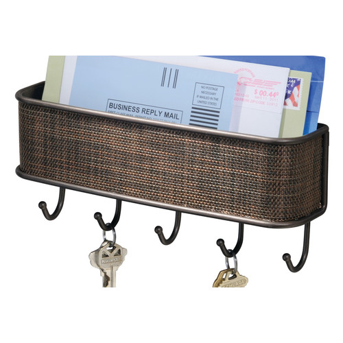 InterDesign Twillo Mail and Key Rack, Wall Mounted