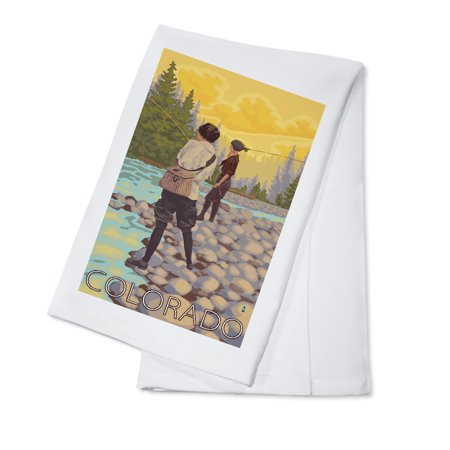 Colorado - Women Fly Fishing - Lantern Press Artwork (100% Cotton Kitchen