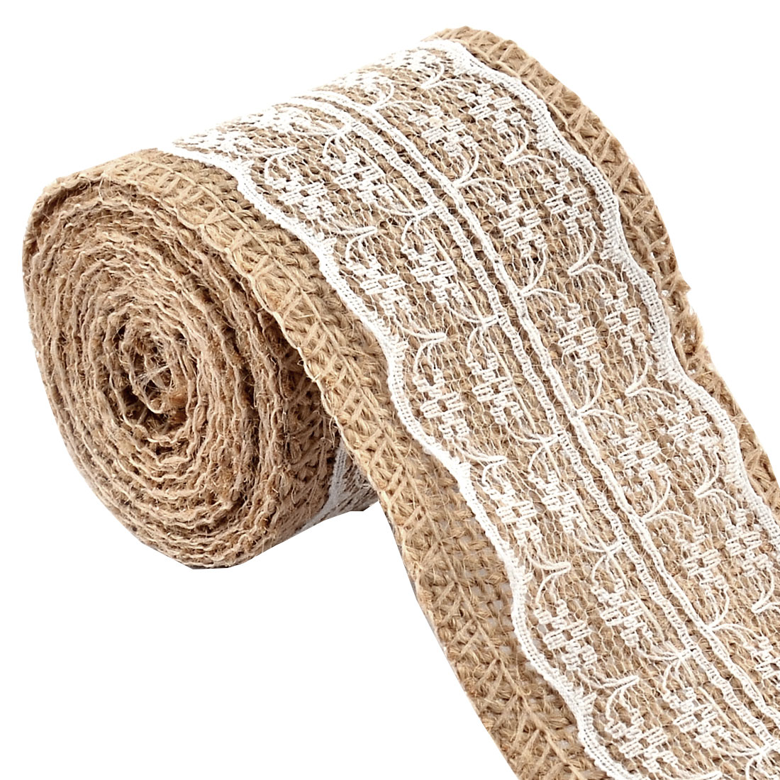 Burlap Art Crafting Lace Ribbon Roll White 2.2 Yards for Wedding Home Decor