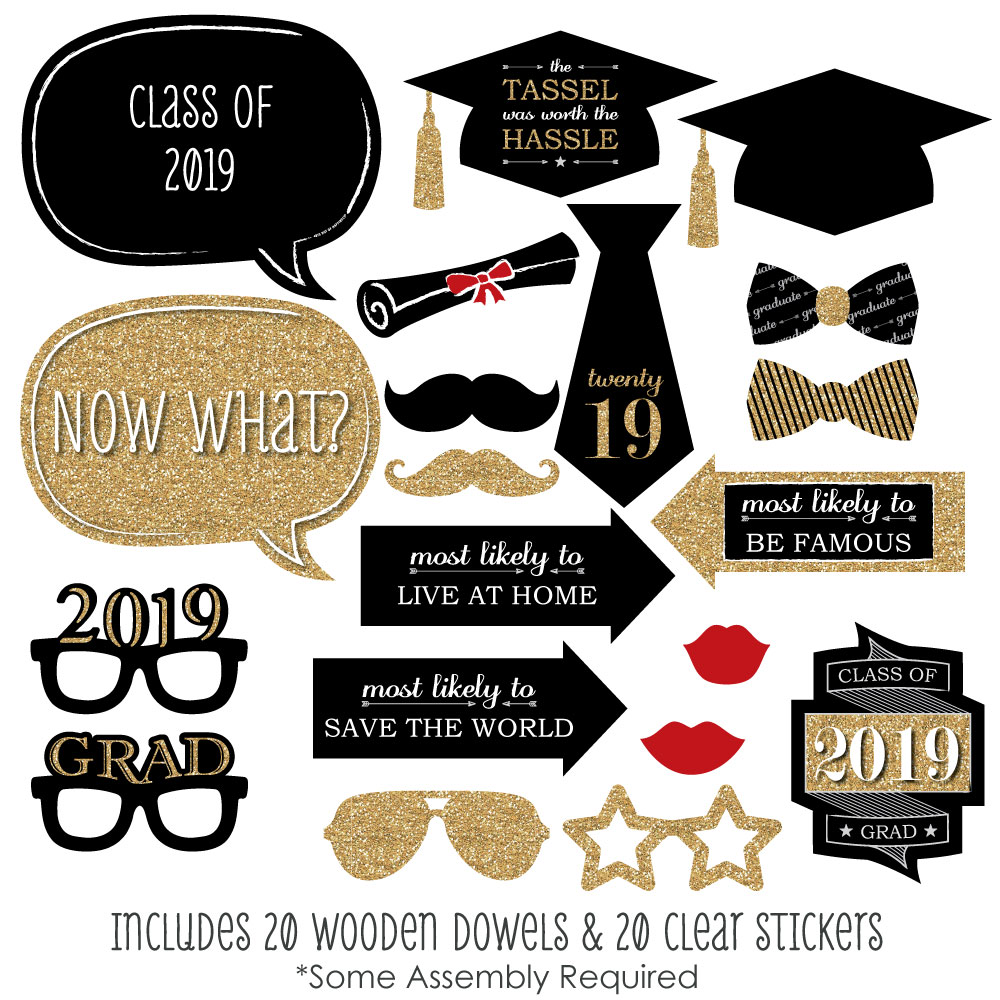 photograph regarding Graduation Photo Booth Props Printable named Commencement Occasion - Gold - 2019 Image Booth Props Package - 20 Rely