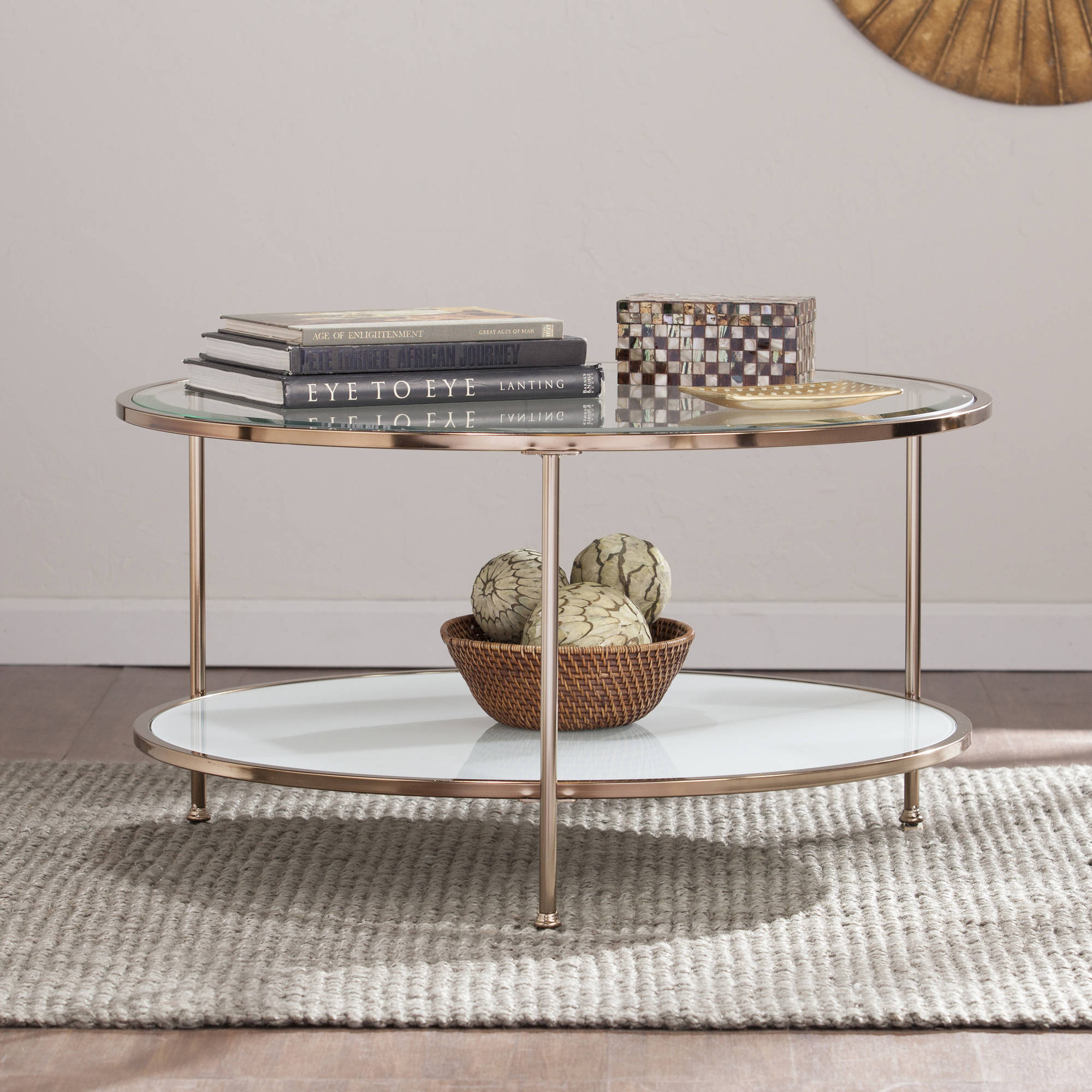 Southern Enterprises Rambix Round Coffee Table, Gold