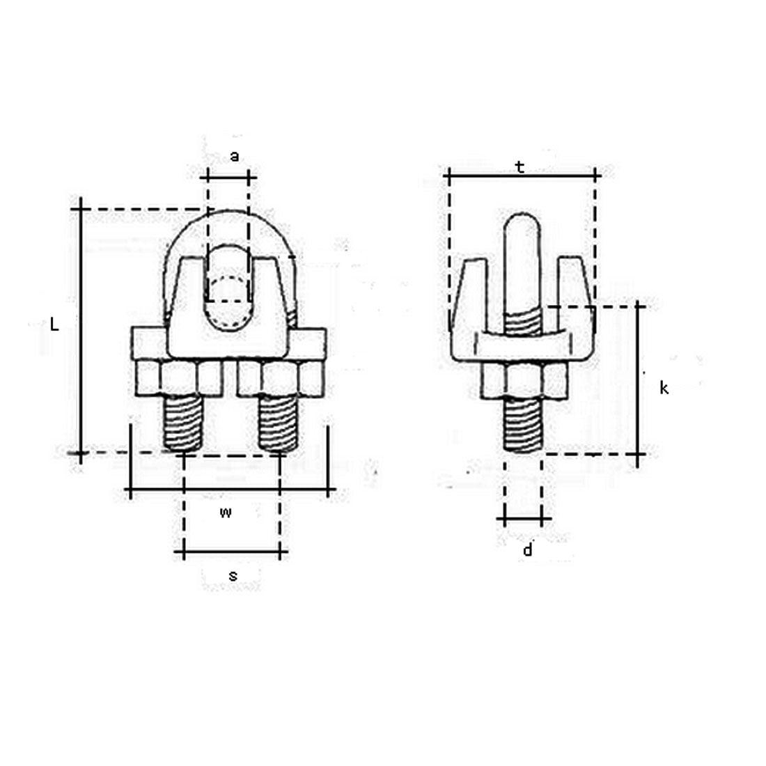 Clips corde cable métallique en U Attaches collier selle boulon en U Silver Gris 15pcs - image 1 de 3