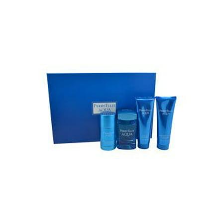 Aqua Gift - Perry Ellis Aqua Perry Ellis Men Gift Set (Eau de Toilette, After Shave Gel, Shower Gel, Deodorant)