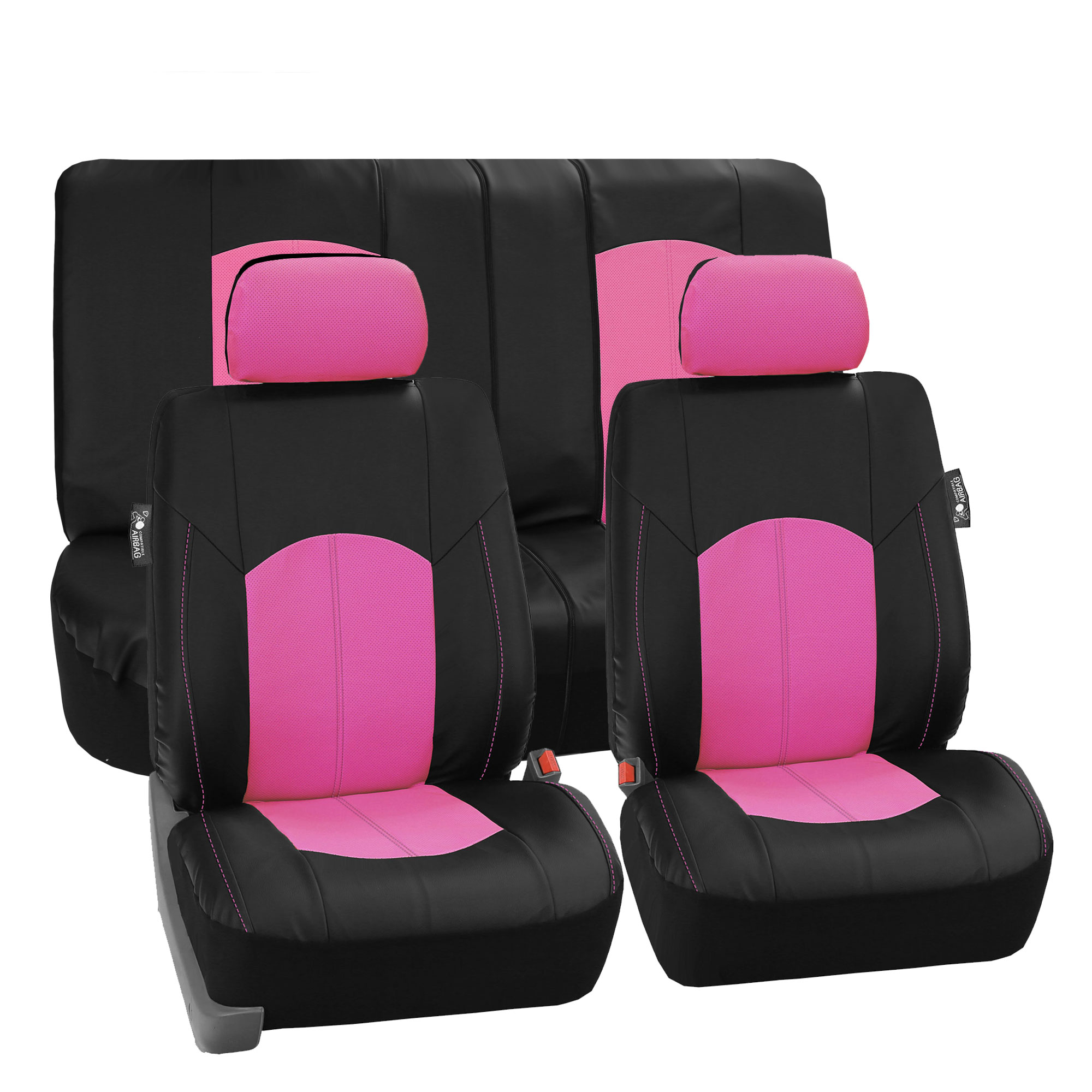 FH Group, Perforated Leather Seat Covers for Auto Car Sedan SUV Van, Full Set with 2 Headrest Covers, 8 Colors