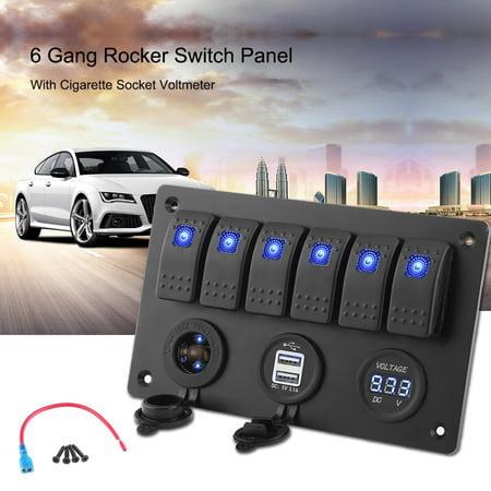 6 Gang Rocker Switch Panel With Cigarette Socket Voltmeter Usb Ports For Car Rv Boat Marine Rocker Switch Panel Rocker Switch