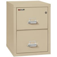 """Fireking 2 Drawer Letter 25"""" D Classic Vertical fireproof File Cabinet-Parchment"""