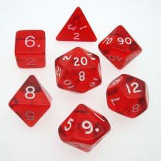 Red Gem 7pc Polyhedral Dice Set D4, D6, D8 2xd10, D12, D20