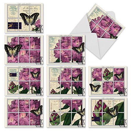 'M3981 PAPILLON POST' 10 Assorted All Occasions Note Cards Featuring A Series Of Botanical Themed Postage Stamps Showcasing French Papillon Butterflies And Plants with Envelopes by The Best Card -