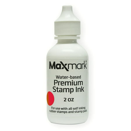 MaxMark Premium Refill Ink for self inking stamps and stamp pads, Red Color - 2 oz. 2 Self Inking