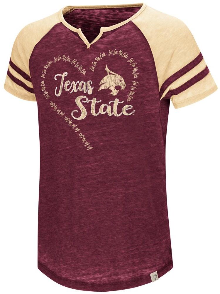 Texas State University Girl's Shirt Short Sleeve Raglan Tee
