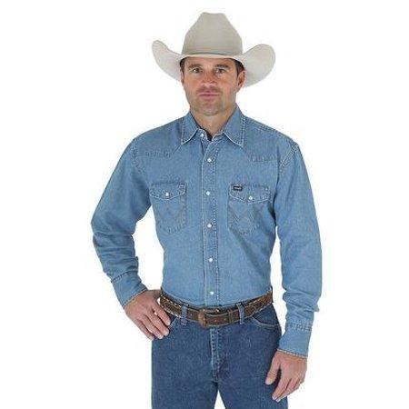 b3a2bdc695b Wrangler - Mens Denim Work Western Shirt - Walmart.com
