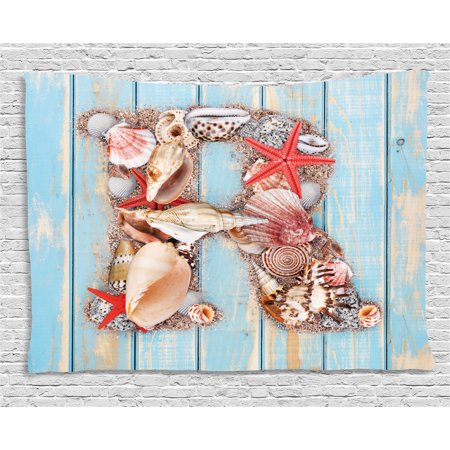 Letter R Tapestry, Tropical Animals in Alphabet Art Ocean Letter R Seashells Starfish, Wall Hanging for Bedroom Living Room Dorm Decor, 80W X 60L Inches, Pale Blue Ivory Dark Coral, by Ambesonne