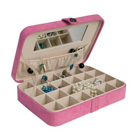 Mele & Co. Maria Plush Earring and Ring Holder Jewelry Box, 24 Sections (Pink)