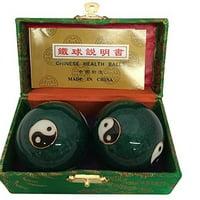 Baoding Balls Chinese health Massage Exercise Stress Balls - Green YinYang #3