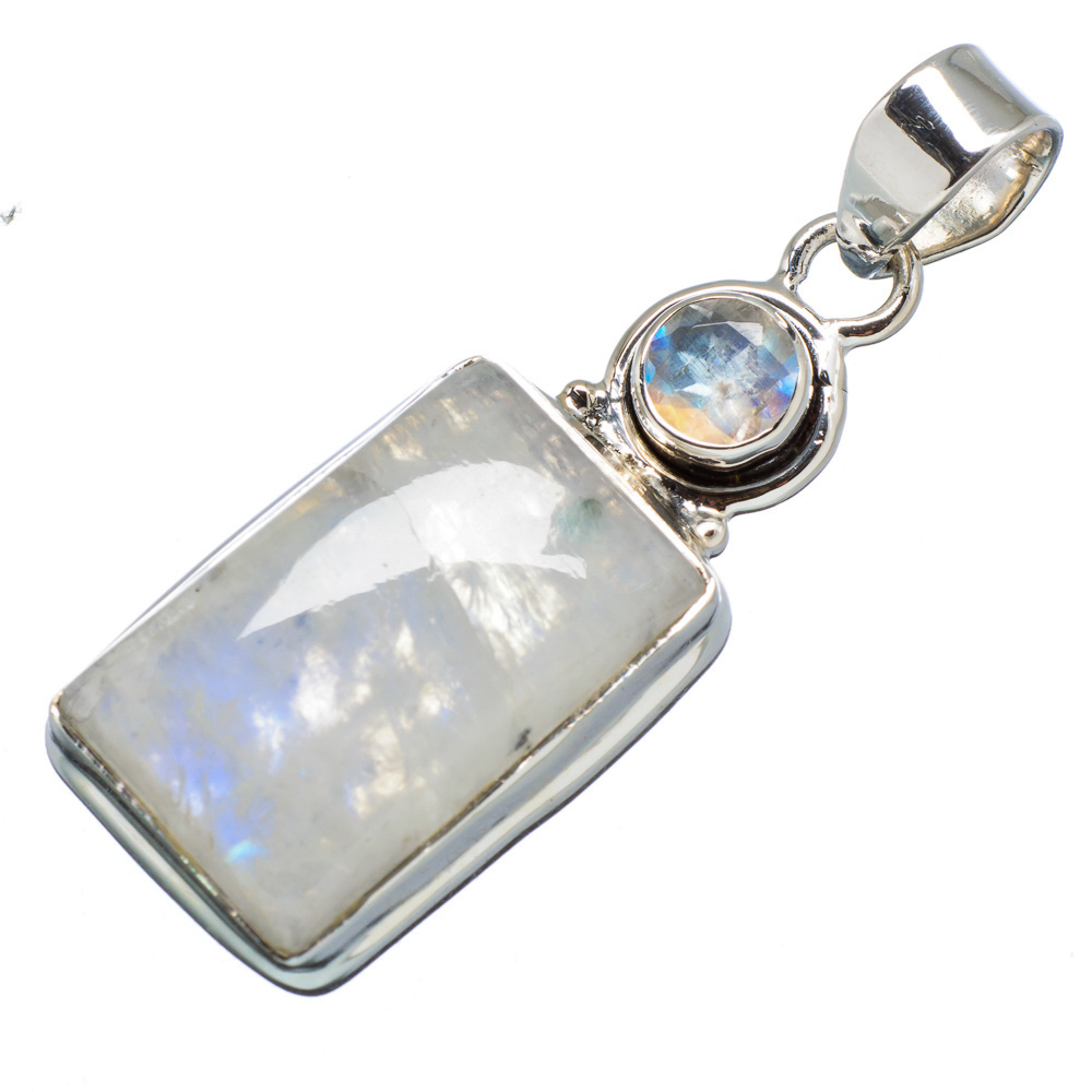 "Ana Silver Co Rainbow Moonstone 925 Sterling Silver Pendant 1 3/4"" PD614492"