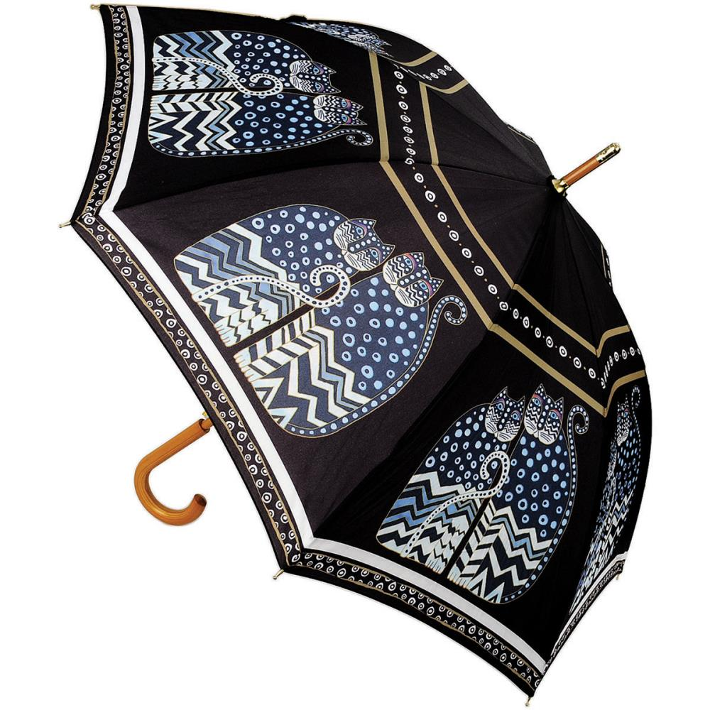 Laurel Burch Stick Umbrella 42 Inch Canopy Auto Open-Polka Dot Cat