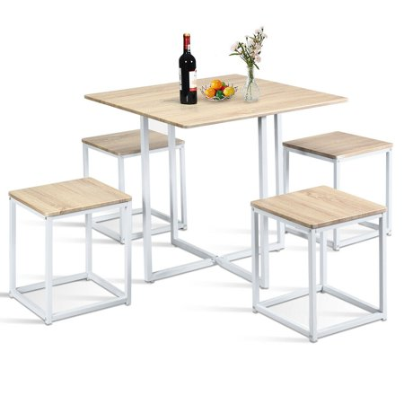 Gymax 5 Piece Dining Table And Chairs Set Metal Legs Compact Space Bar Pub Kitchen