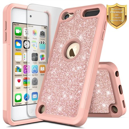 iPod 5 / iPod 6 Case, iPod Touch 5th / 6th Generation Case with Screen Protector for Girls Kids Women, HJ Wireless Glitter Shiny Bling Sparkle Heavy Duty Shockproof Cute Cover Case -Rose Gold Rose