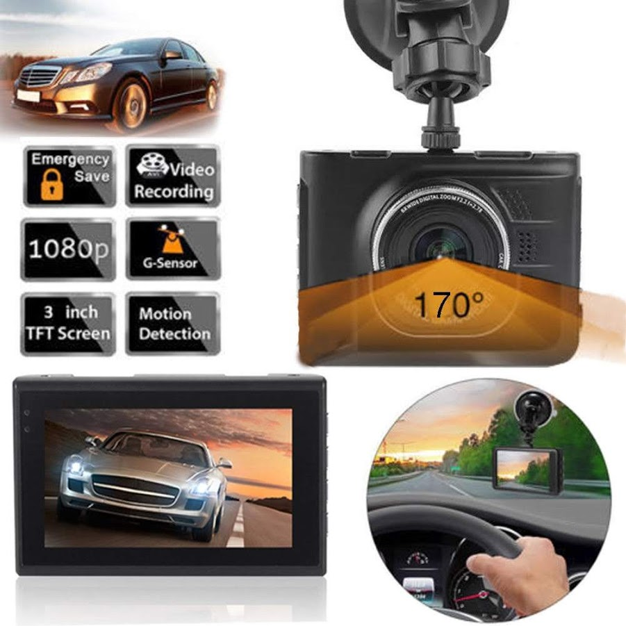 "3"" LCD Car Camera Dash Cam FHD 1080p 170 Degree Wide Angle Dual Channel Dashboard Camera Recorder Car Dash Cam, G-Sensor, WDR, Loop Recording"