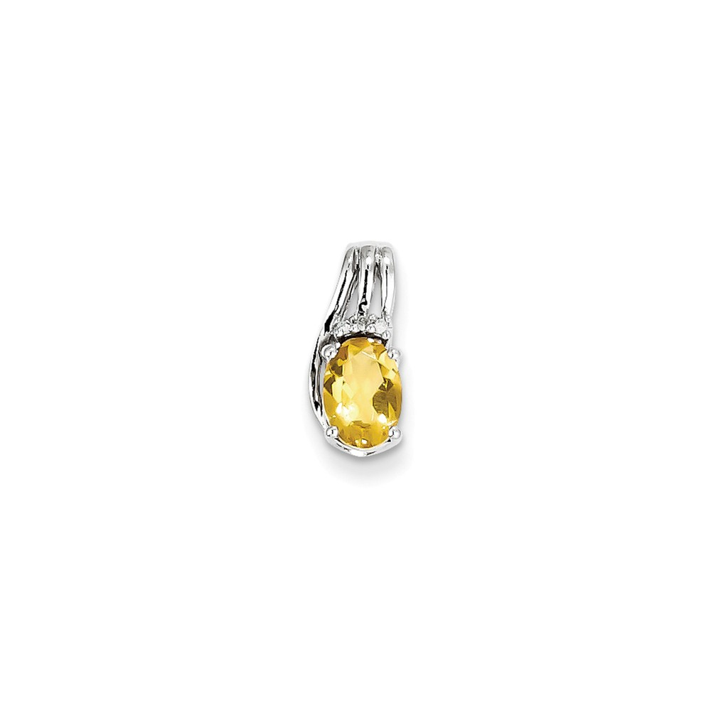 Sterling Silver Rhodium Plated Diamond & Citrine Oval Pendant. Gem Wt- 0.56ct