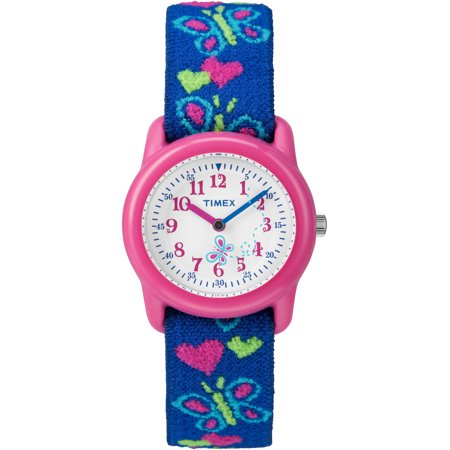 Kids Pink Analog Watch, Butterflies and Hearts Elastic Fabric Strap