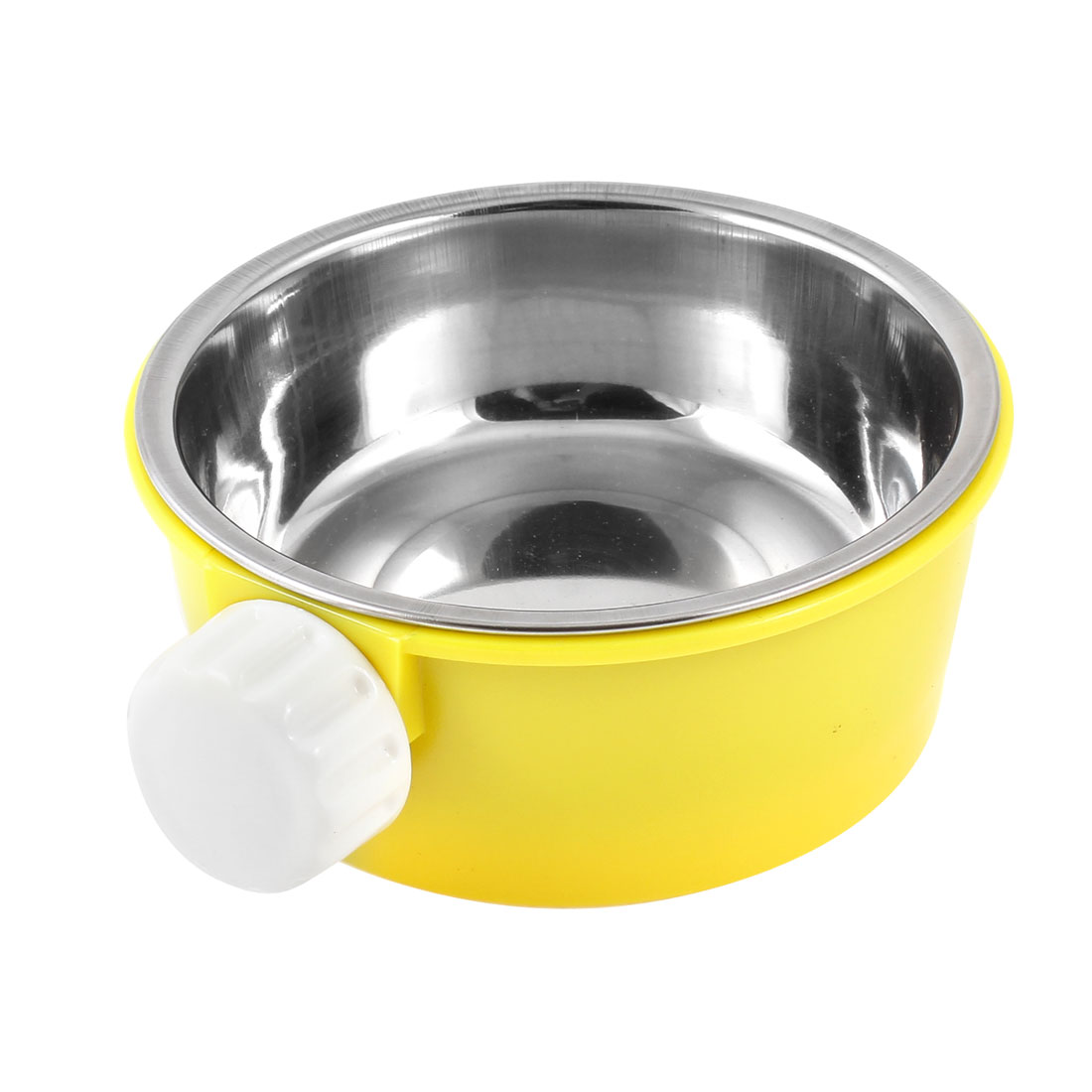 Yellow Food Water Feed Feeder Fixed Bowl Dish 2 in 1 for Pet Cat Dog imitated rabbit