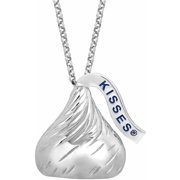 "Hershey's Kisses Women's Sterling Silver Extra-Large 3D Pendant, 22"" with 2"" Extension"