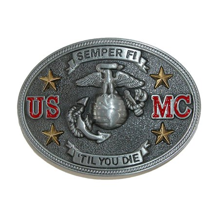 Semper Fi US Marine Corps Belt Buckle, Silver, Metal By (Marine Corps Belt)