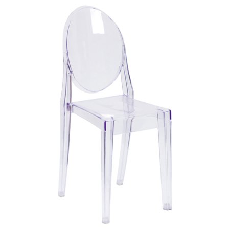 Flash Furniture Ghost Chair with Oval Back in Transparent (Oval Back Chairs)