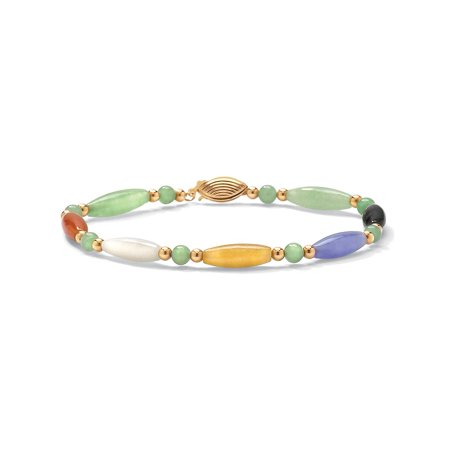 Multicolor Jade 14k Yellow Gold Beaded and Barrel Shapes Bracelet (Jade Bead Love Heart Bracelet)