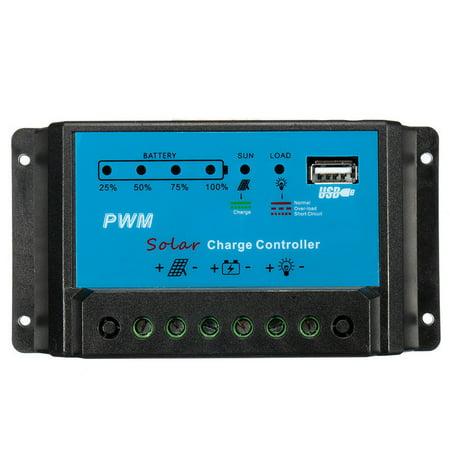 - Digital Solar Charge Controller PWM 10A 12V  Intelligent Battery Regulator USB LED Power Indicator