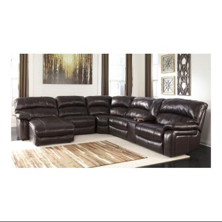 Ashley damacio u98200 79 46 77 19 57 62 6 piece sectional for Flexsteel 4 piece sectional sofa with right arm facing chaise in brown