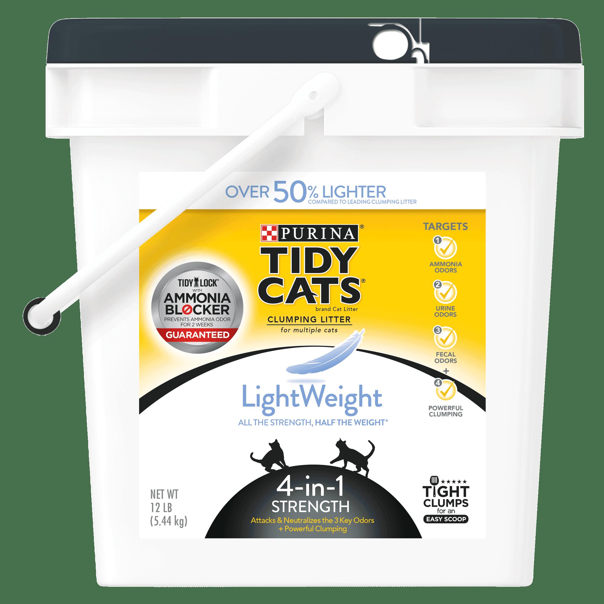 Purina Tidy Cats LightWeight 4-in-1 Strength Clumping Cat Litter, 12-lb Pail