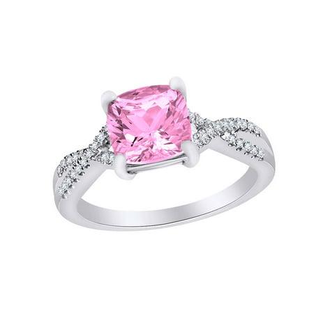 07b61d0df Jewel Zone US - Cushion Cut Simulated Pink Tourmaline & White ...