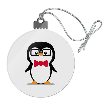 Cartoon Penguin with Bow Tie and Glasses Acrylic Christmas Tree Holiday Ornament - Christmas Cartoon Tree