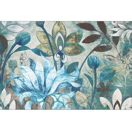 Modern Sketched Flowers, Buds & Blooms Garden Painting Blue Canvas Art by Pied Piper Creative