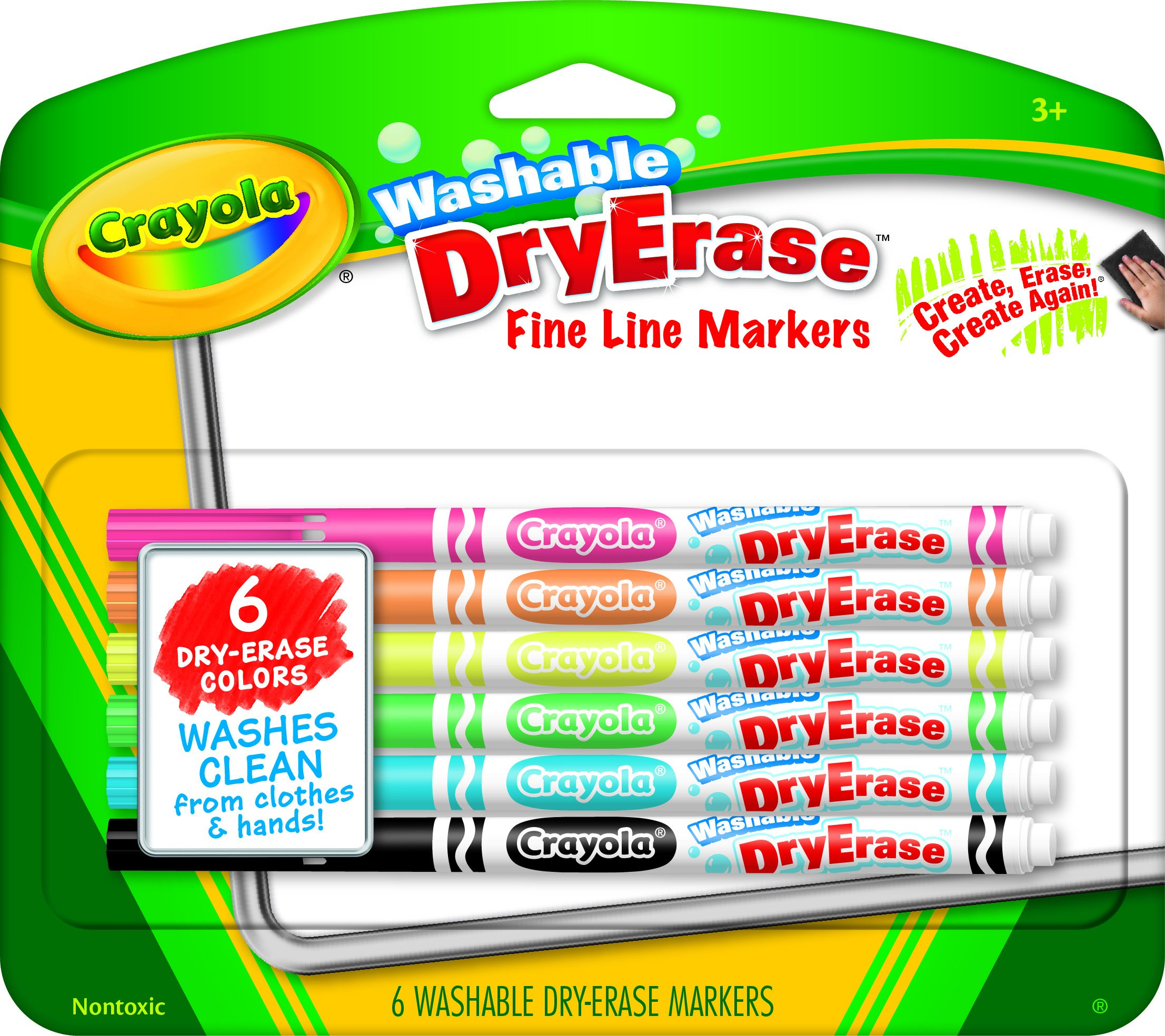 Crayola Fine Line Washable Dry Erase Markers Bullet Marker Point Style Assorted Ink 6  ... by Crayola