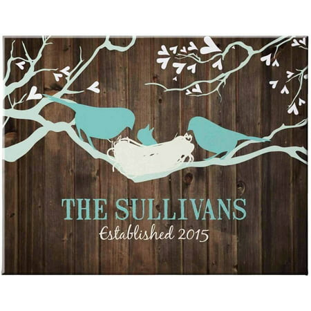 Personalized Bird Family Canvas, 16x20