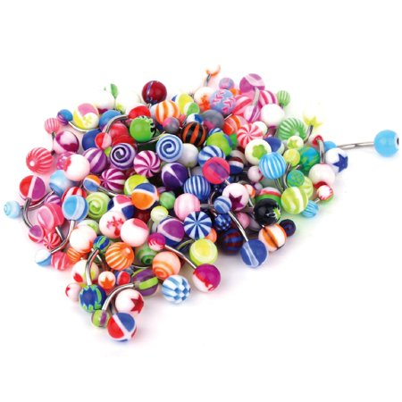 BodyJ4You 100PC Belly Button Rings Banana Barbells 14G Surgical Steel Bar Mix Color Body Jewelry (Belly Button Rings Case)