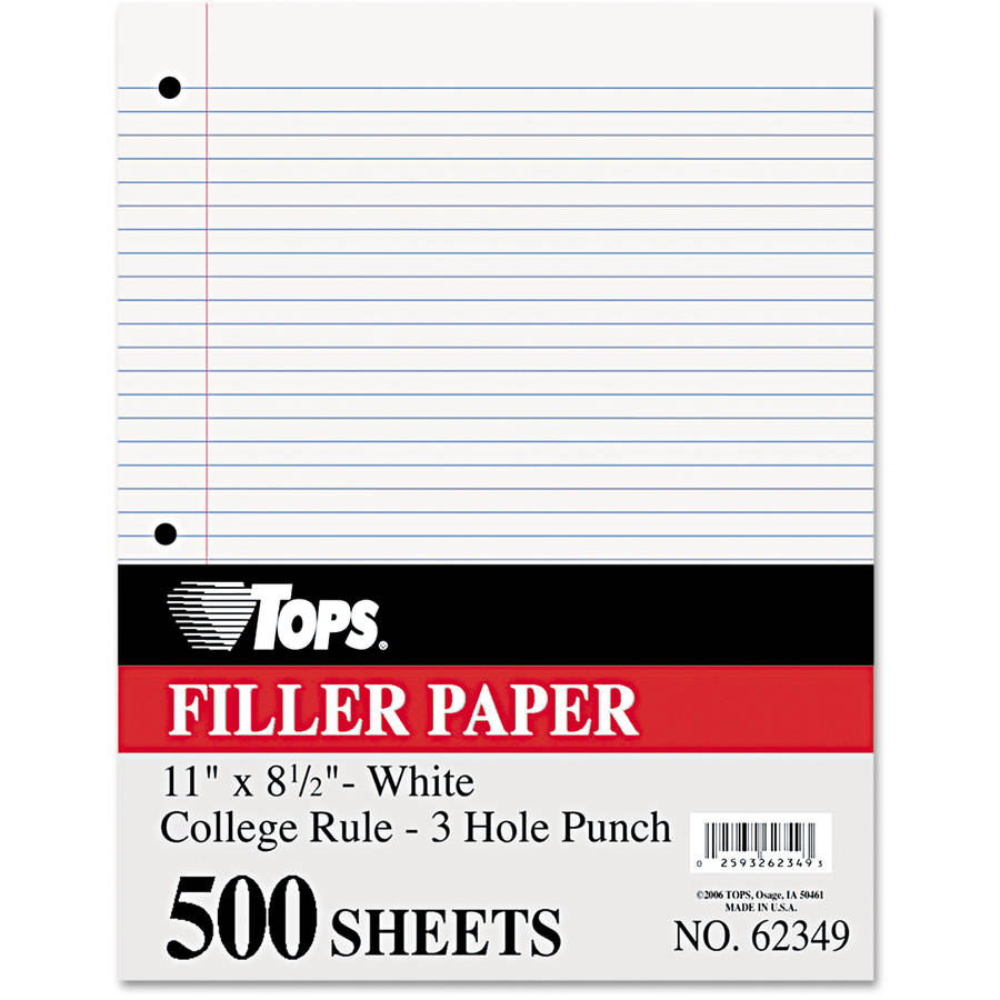 "TOPS Filler Paper, 16 lb, 11"" x 8.5"", College Rule, White, 500 Sheets/Pack"