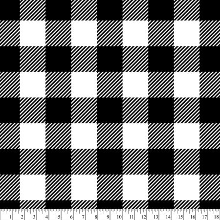 (2 Yards) David Textiles 100% Polyester Anti-Pill Fleece Fabric, Black Buffalo Plaid 60
