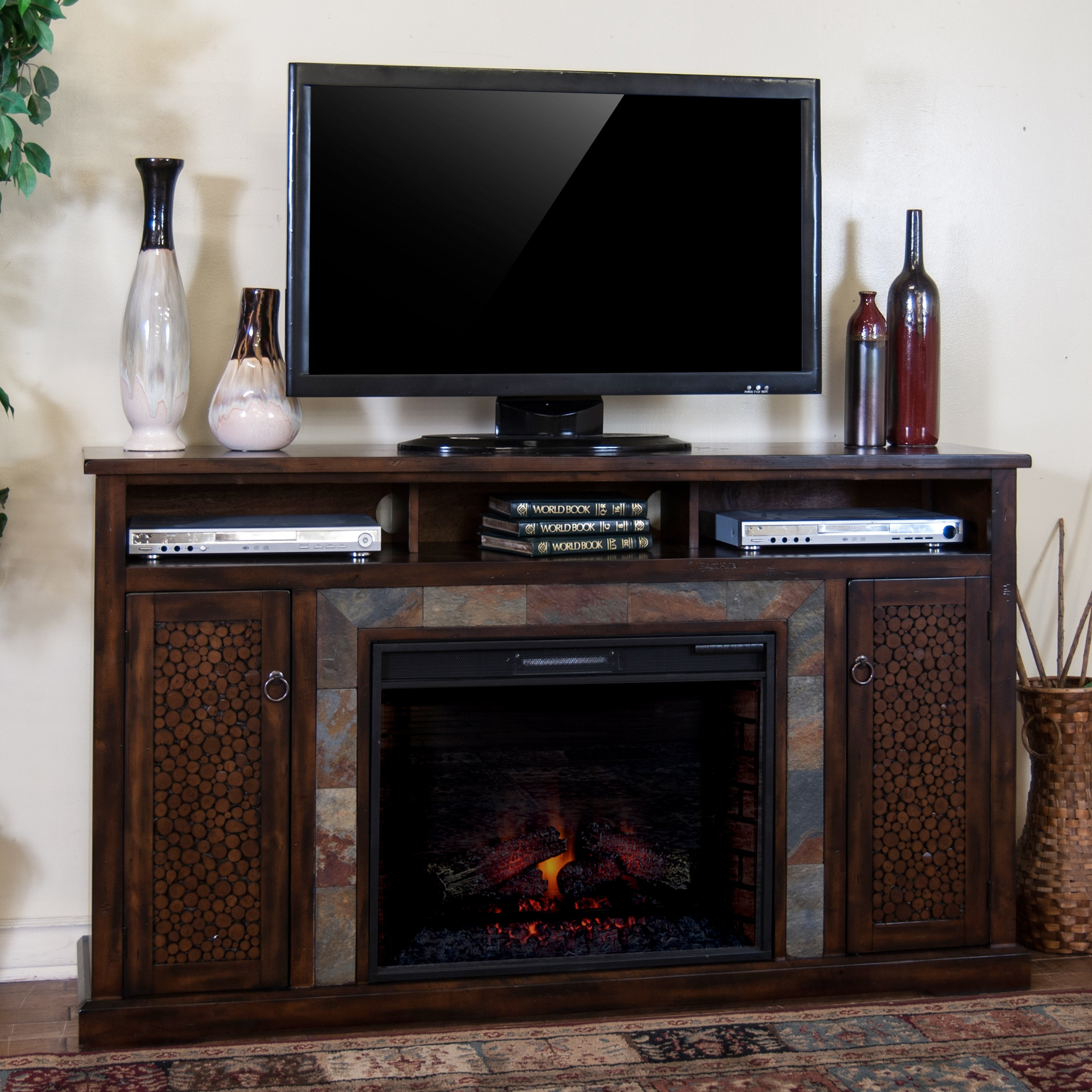 Sunny Designs Santa Fe 66 in. Electric Fireplace Media Console