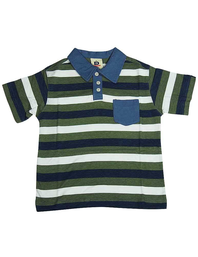 Dogwood Clothing - Little Boys Striped Short Sleeve Polo Green / 4
