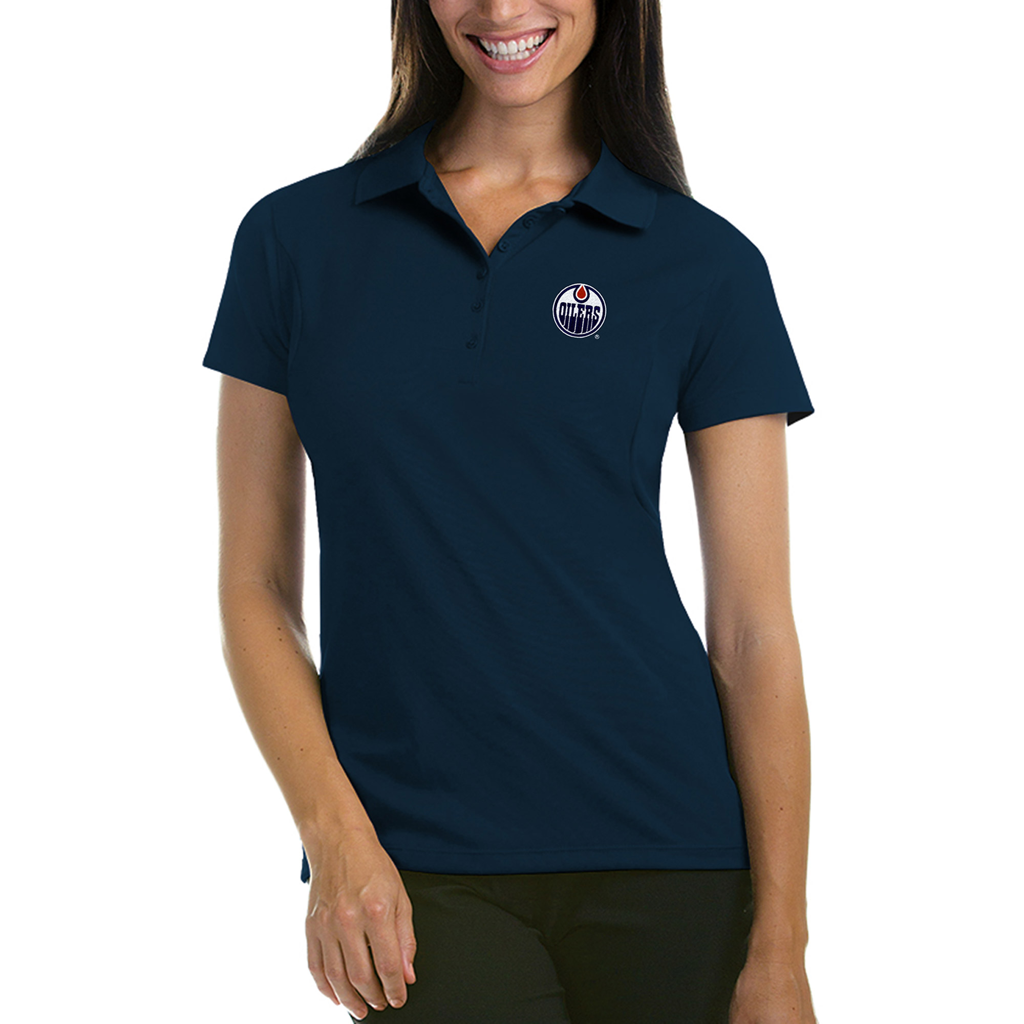 Edmonton Oilers Antigua Women's Pique Performance Polo - Navy